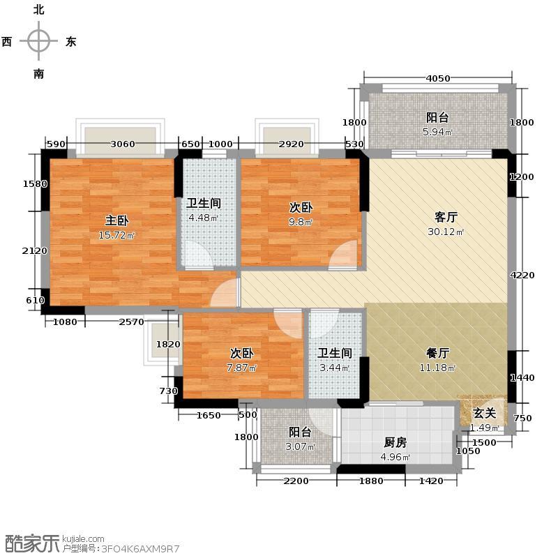奶茶咖啡106.21㎡B栋03、04户型3室2厅2卫
