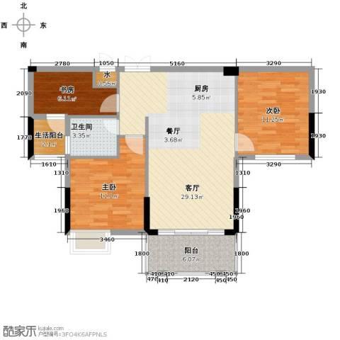 嘉业海棠湾3室2厅1卫0厨89.00㎡户型图
