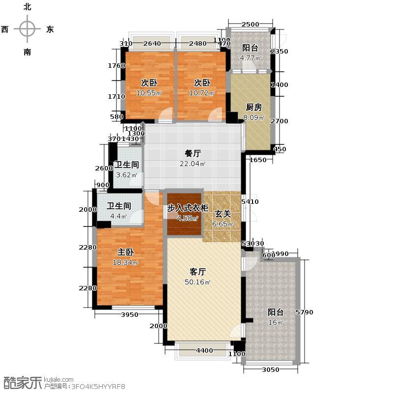 恒大名都175.00㎡46栋3-32层3号户型3室2厅2卫