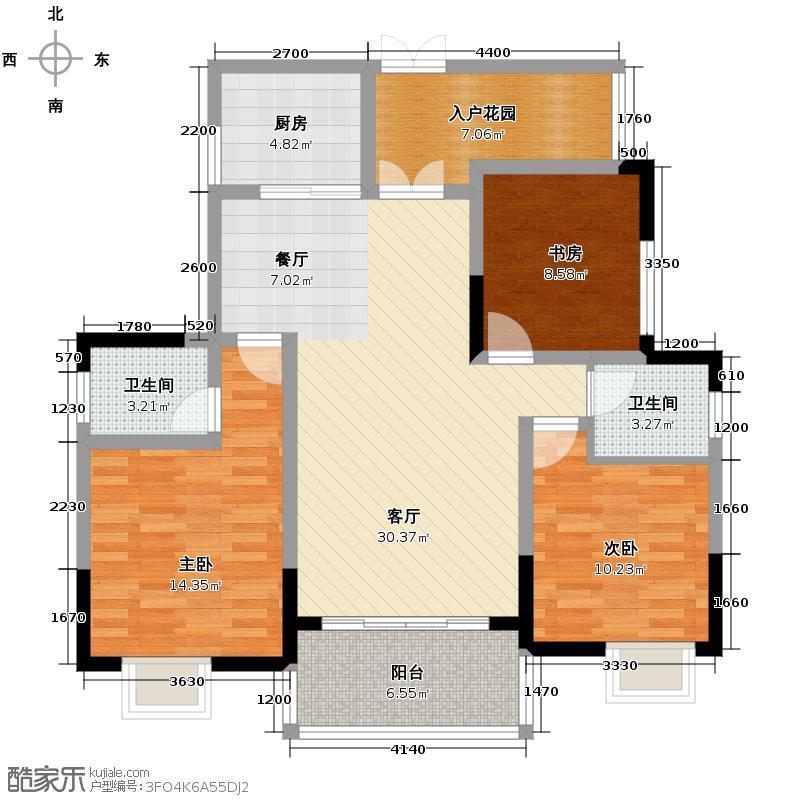 蓝月谷裕源国际山庄117.00㎡户型3室2厅2卫