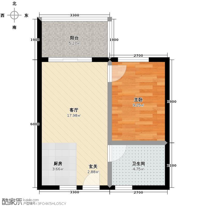 成都新天地-新天地1号-一期1号楼B座在售-H1-三层-十三层-建筑面积约53户型1室1厅1卫