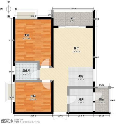 中凯翠海朗园2室1厅1卫1厨91.00㎡户型图