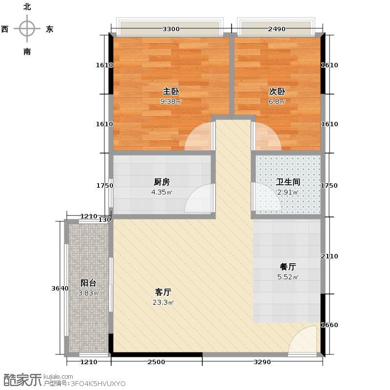 中城丽景香山65.14㎡32A鼎和户型2室2厅1卫