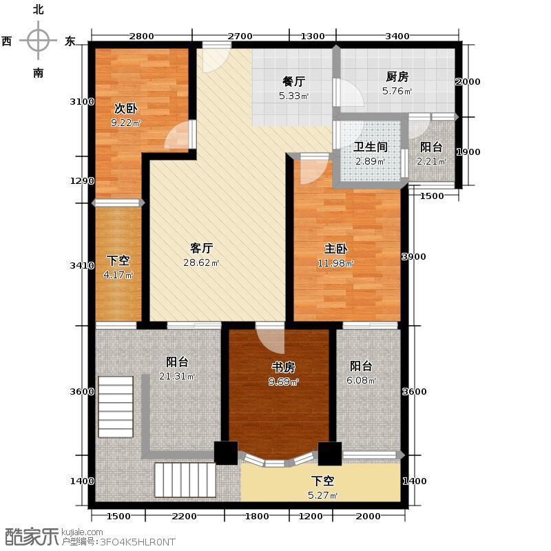 成都新天地117.21㎡一期2号楼在售C户型3室1厅1卫1厨