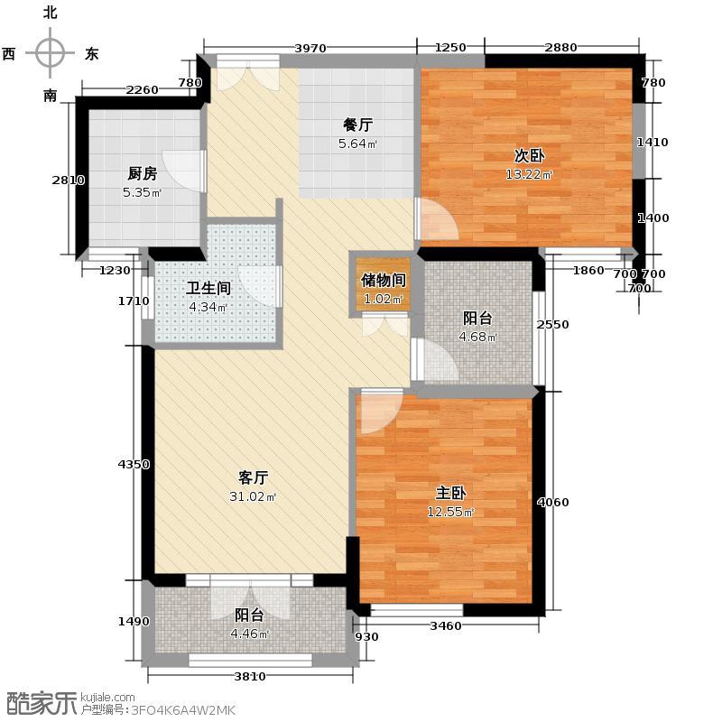 复地东湖国际106.99㎡M2-2户型2室2厅1卫