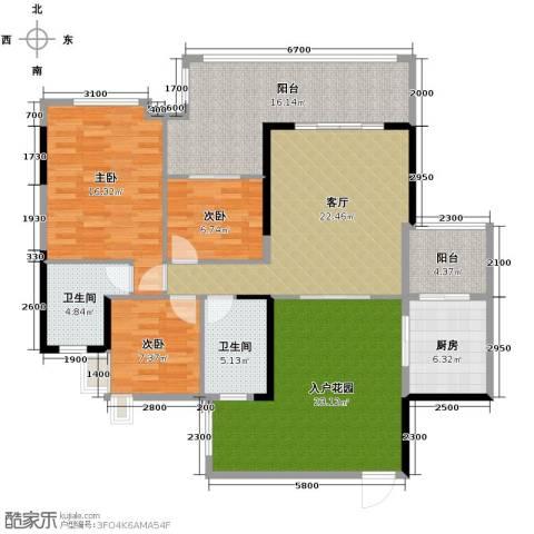 泊岸君庭3室1厅2卫1厨115.00㎡户型图