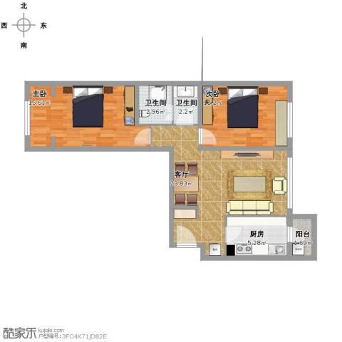融泽嘉园2室1厅2卫1厨91.00㎡户型图