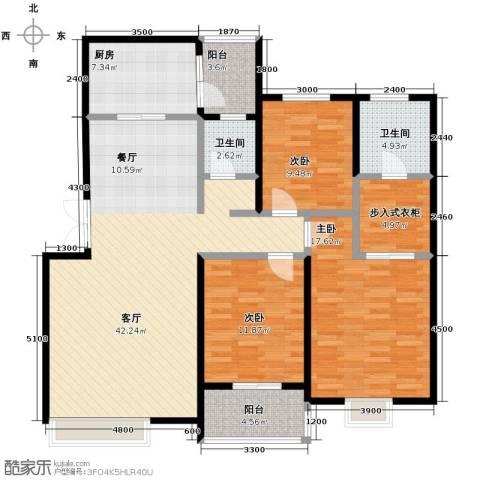 汇城上筑3室1厅2卫1厨123.13㎡户型图
