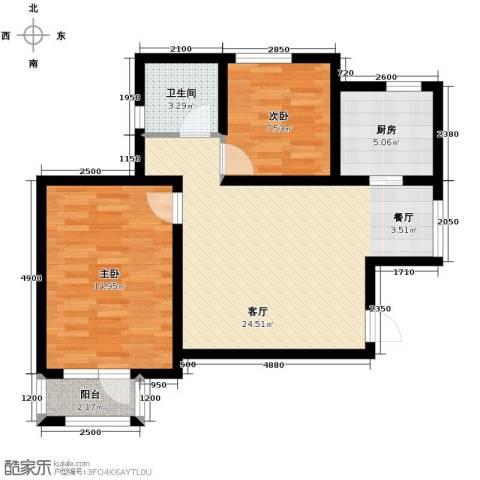 新梅江雅境新枫尚2室2厅1卫0厨89.00㎡户型图