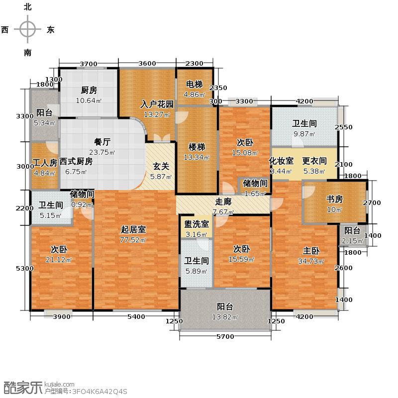 九锦台279.68㎡7号楼H户型5室2厅3卫