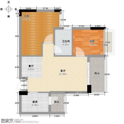 雅居乐御宾府2室1厅1卫1厨74.00㎡户型图
