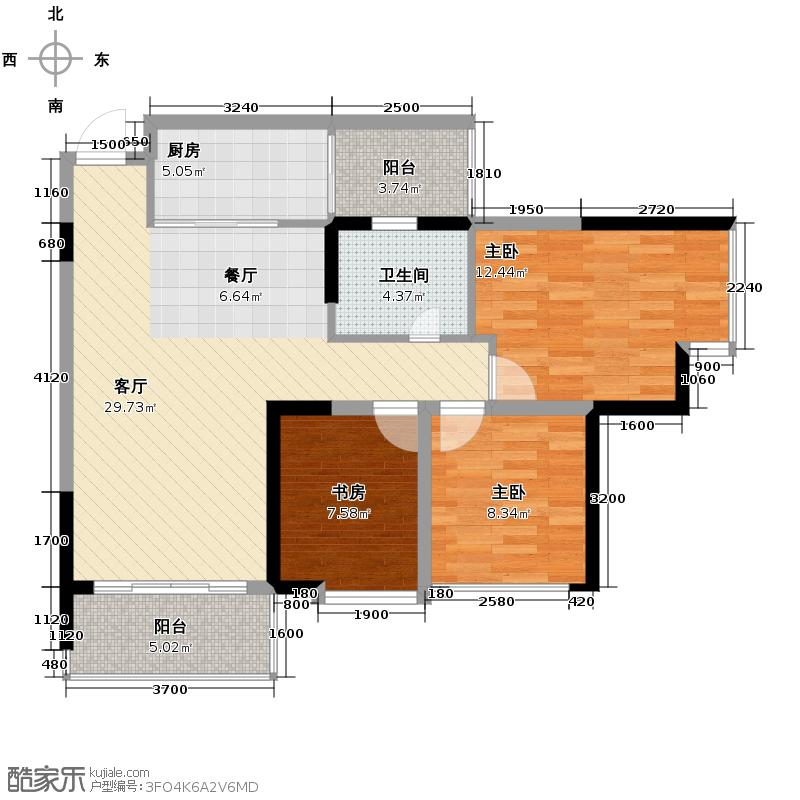 大王钰城86.78㎡B7户型3室1厅1卫1厨
