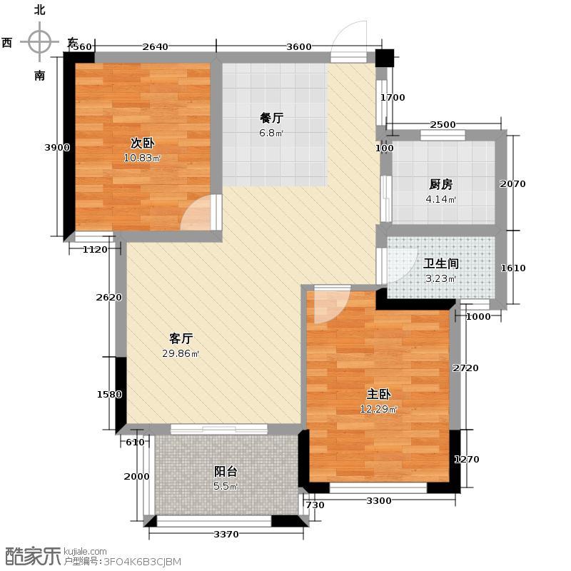 翡翠云天88.40㎡E户型2室2厅1卫