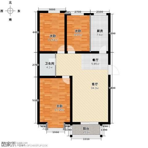 大学时光3室2厅1卫0厨112.00㎡户型图