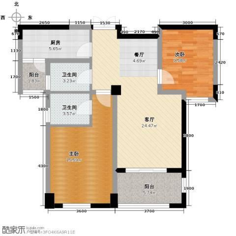 龙湖花千树2室1厅2卫1厨101.00㎡户型图