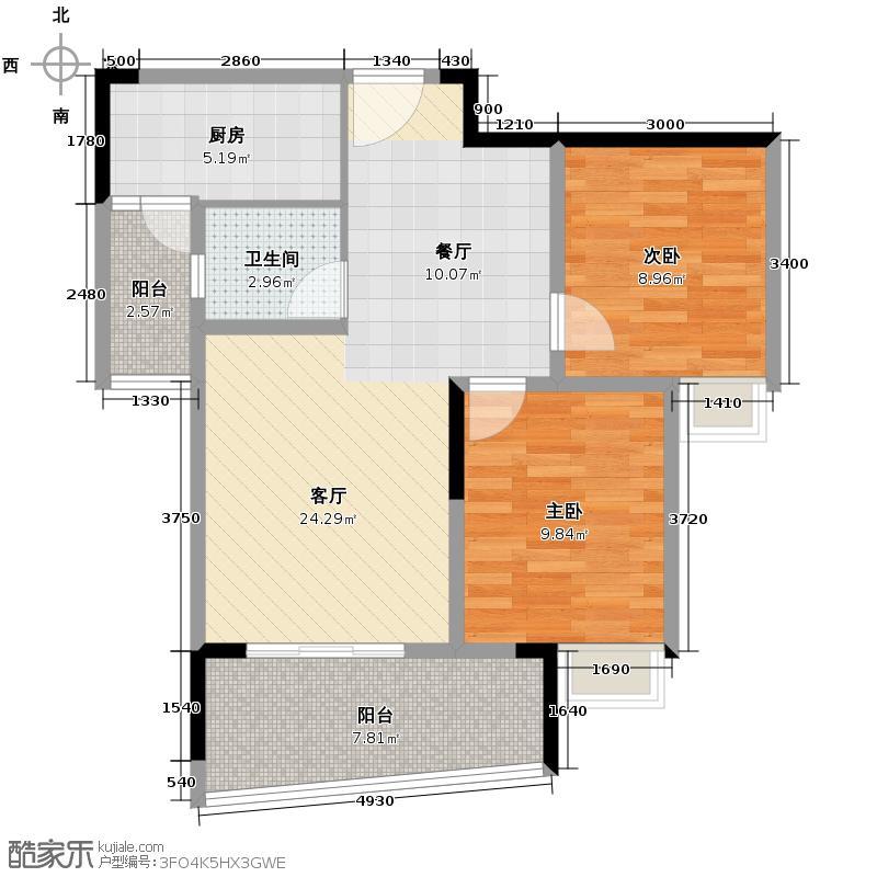联发嘉园62.71㎡单卫户型2室1厅1卫1厨