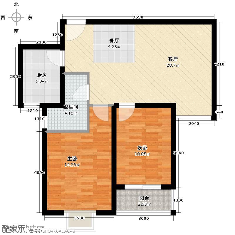 海�印象城92.14㎡Db户型2室1厅1卫1厨