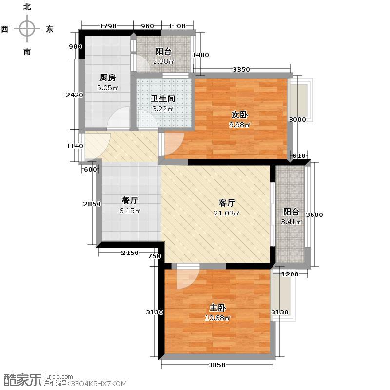 大鼎第一时间63.58㎡1号楼8号房户型2室1厅1卫1厨