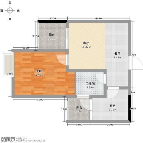 五星国色天香1室1厅1卫1厨62.00㎡户型图
