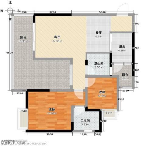 御城华府2室1厅2卫1厨80.71㎡户型图