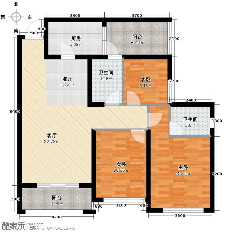 缙逸香山102.46㎡一期2号楼标准层4号房户型3室2厅2卫