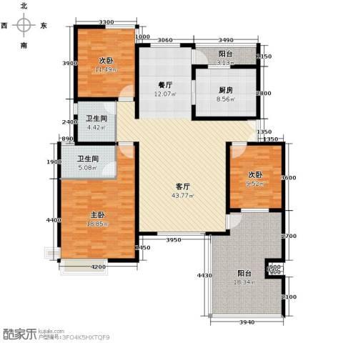 首创隽府3室2厅2卫0厨127.00㎡户型图