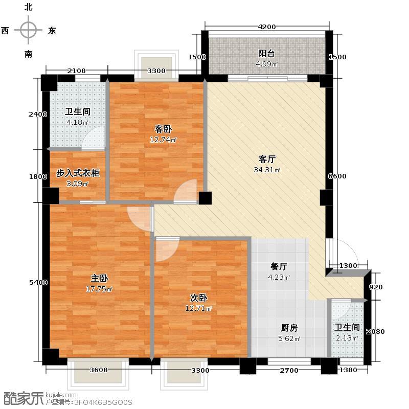 蓝宝国际102.36㎡户型3室1厅2卫