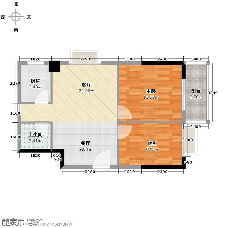 银泰大智嘉园77.00㎡A-3户型2室1厅1卫1厨