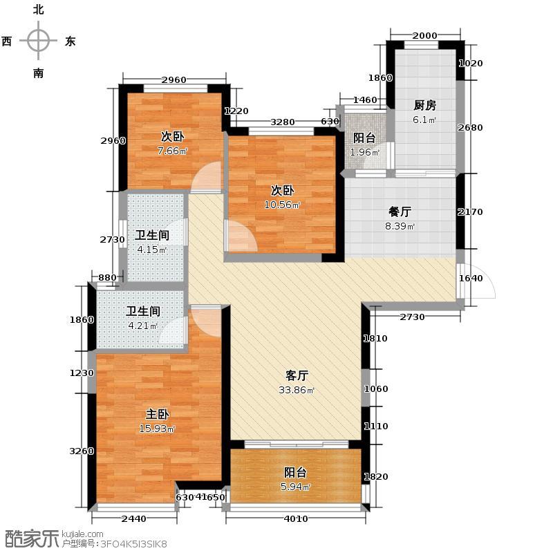 恒大御景湾121.00㎡2-2号栋03户型3室2厅2卫
