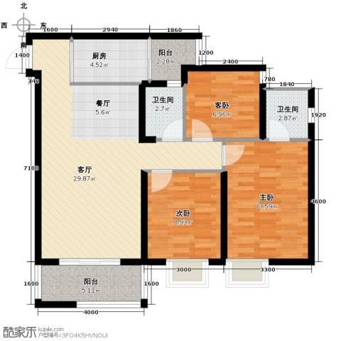 恒鑫名城3室1厅2卫1厨110.00㎡户型图