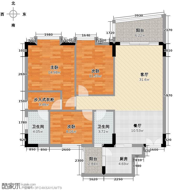 智杰雅筑108.39㎡雅逸轩1栋03单元户型3室2厅2卫