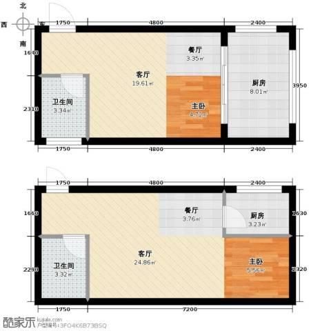 御笔华府2厅2卫2厨62.37㎡户型图