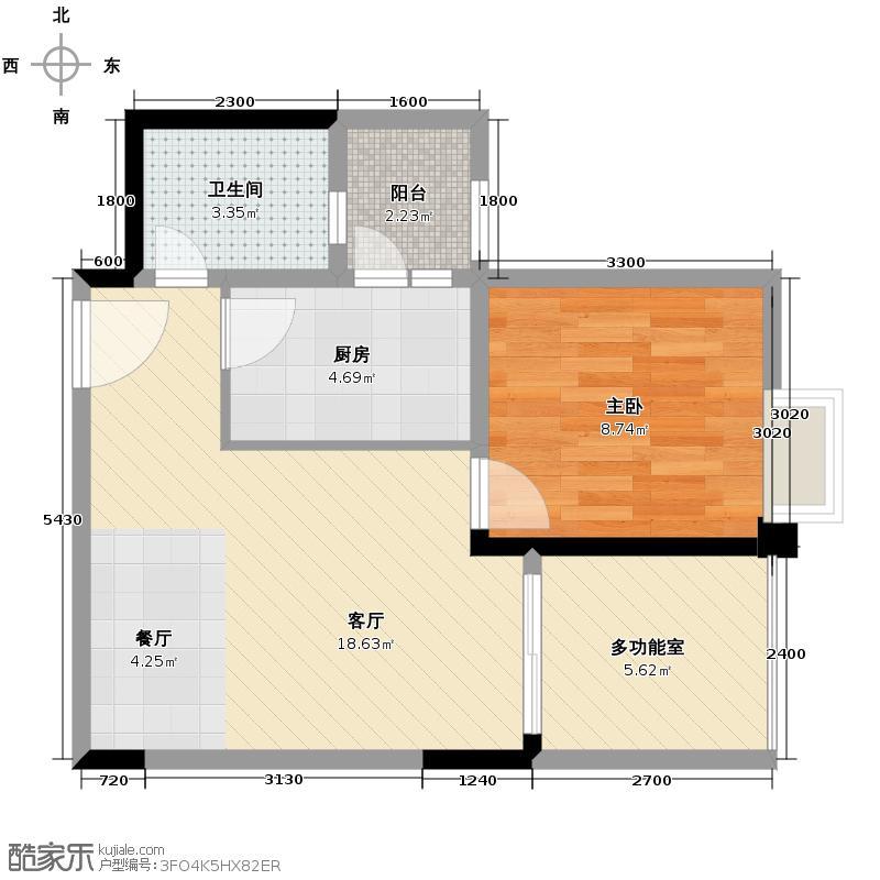 东原亲亲里49.48㎡1号楼A1户型1室1厅1卫1厨