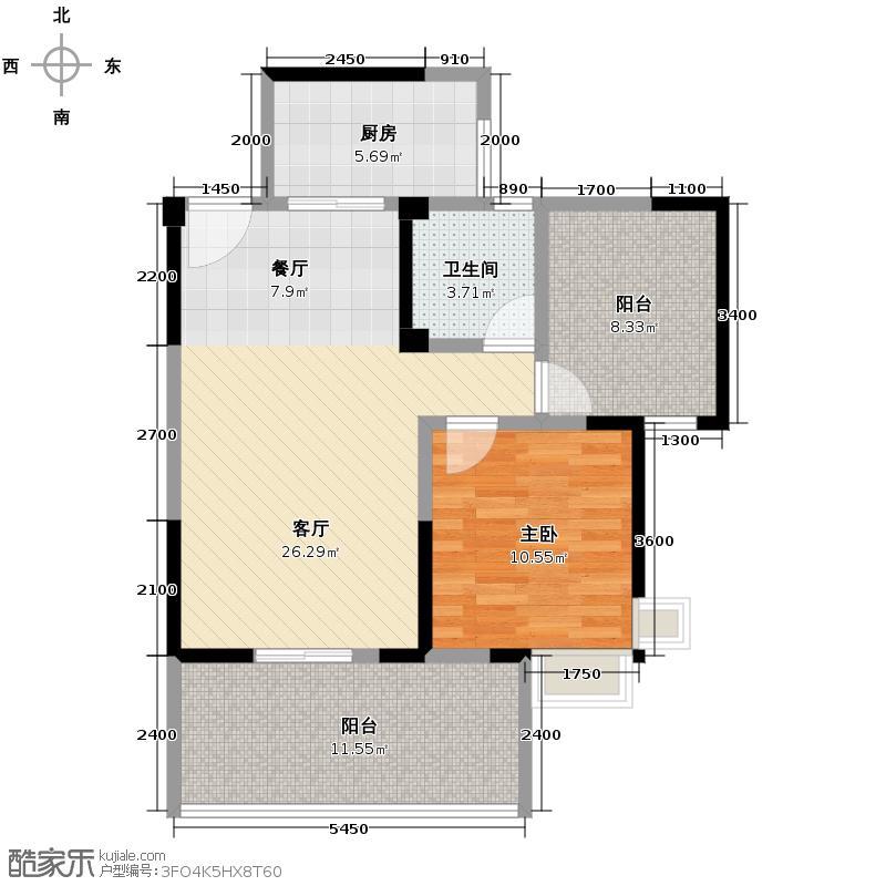 尚东美林74.64㎡户型1室1厅1卫1厨