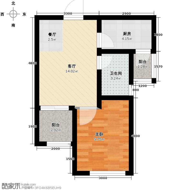 通瑞月光湖45.47㎡E4户型1室2厅1卫