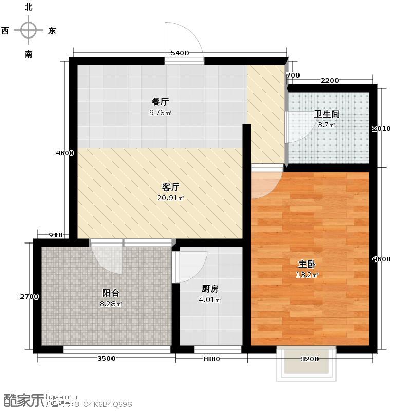 靖江鑫园73.00㎡1号楼标准层户型1室2厅1卫