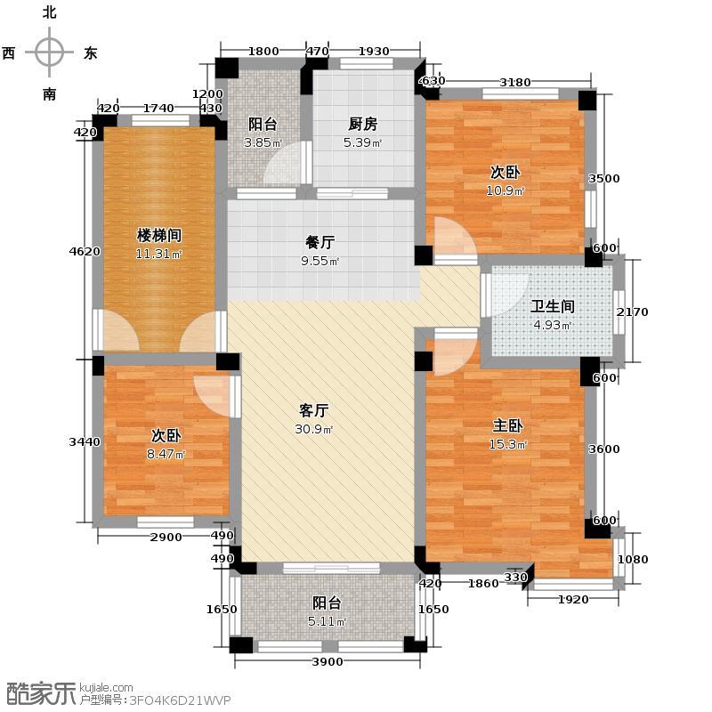 皇马花园111.34㎡户型3室1厅1卫1厨