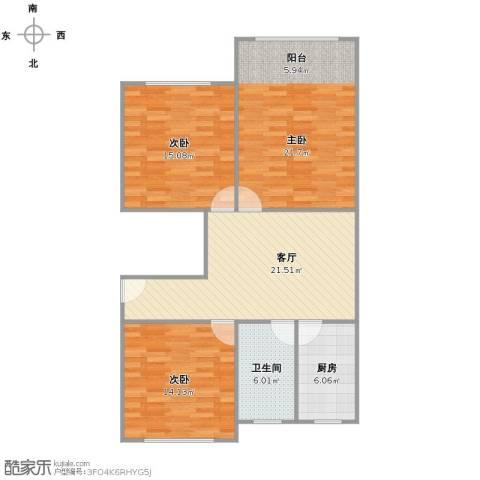 金樟花苑3室1厅1卫1厨90.11㎡户型图