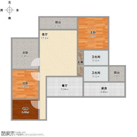 名流印象三期幸福季4室2厅2卫1厨74.44㎡户型图
