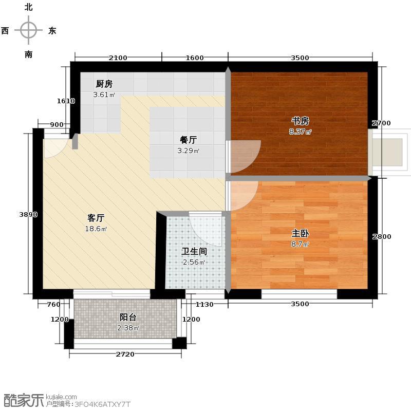 绿地中央广场62.60㎡户型2室2厅1卫