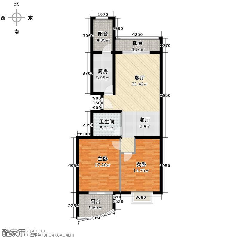 银河湾118.77㎡4号楼B1户型2室1厅1卫1厨