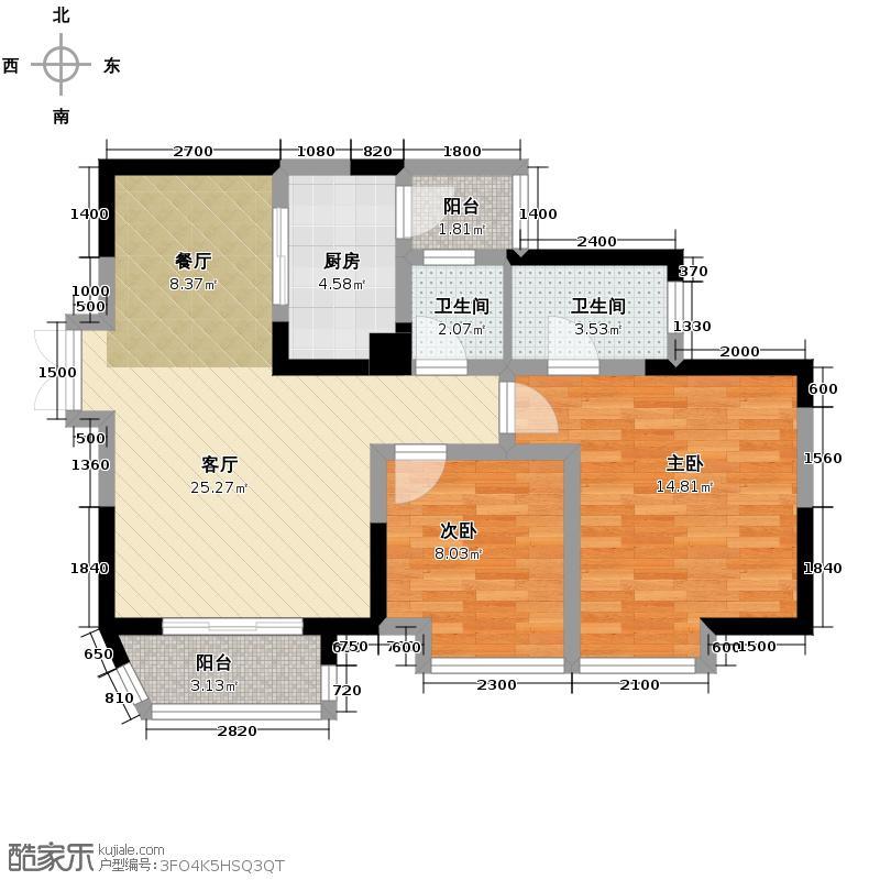 华宇秋水长天69.08㎡-户型2室1厅2卫1厨