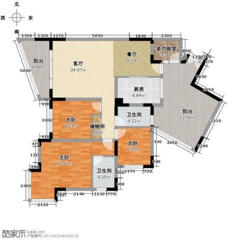天骄年华3室1厅2卫1厨121.20㎡户型图