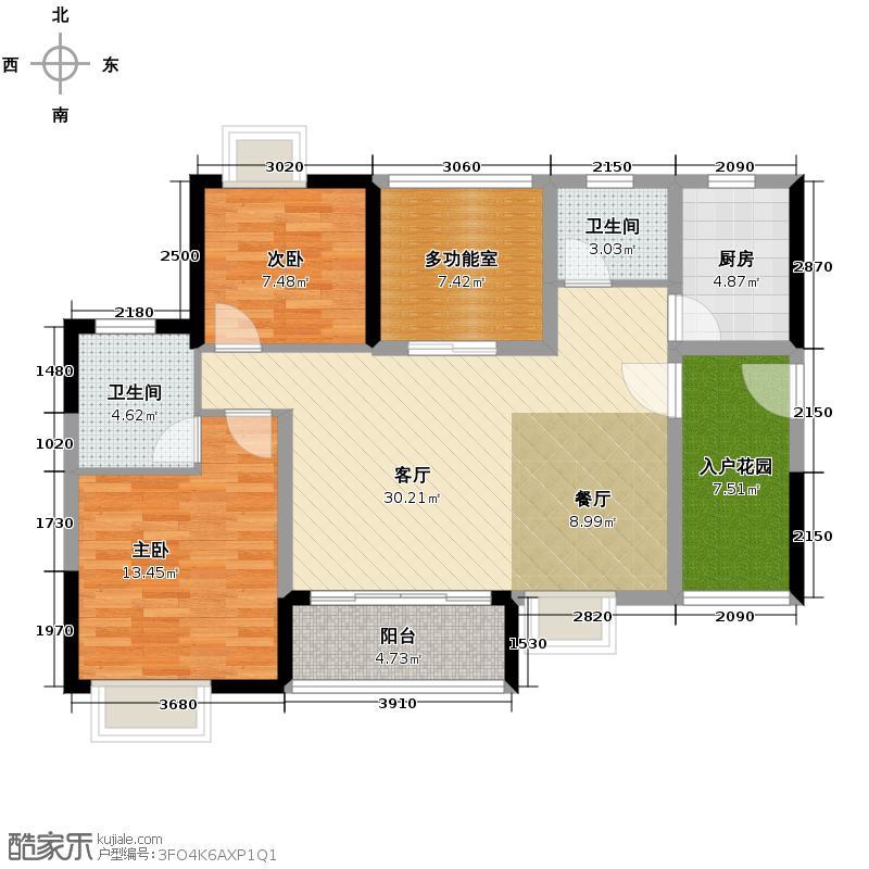 珠光御景山水城99.00㎡15号楼01、02、03单元05型户型3室2厅2卫