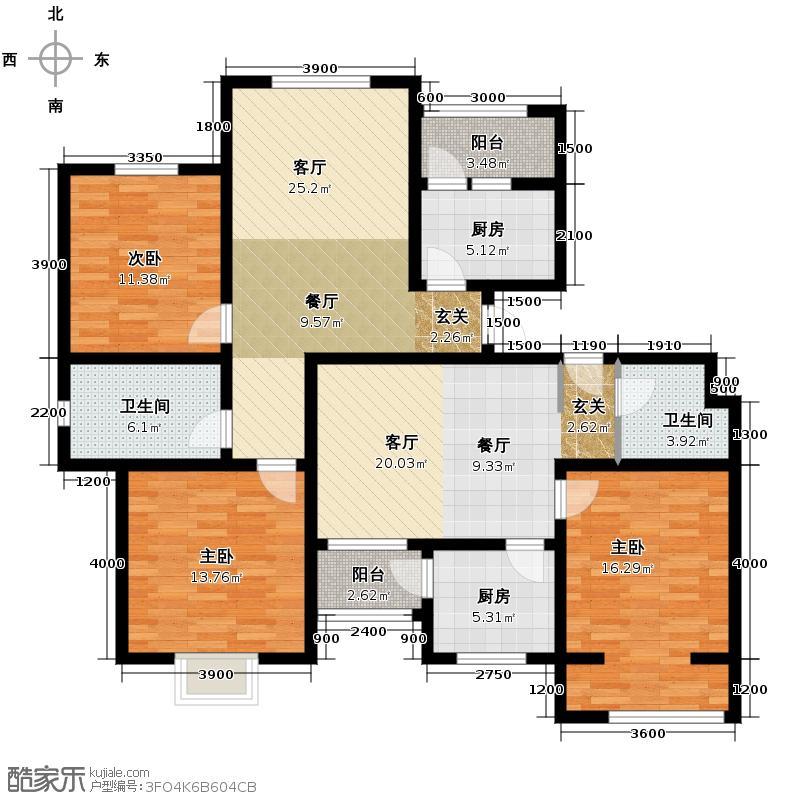弘祥家园102.00㎡1、2、3#楼C单元6层3室户型10室