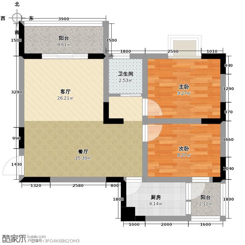 润芝园67.14㎡1号楼B2户型2室2厅1卫