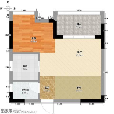 新里程潇湘名城1室1厅1卫0厨54.00㎡户型图