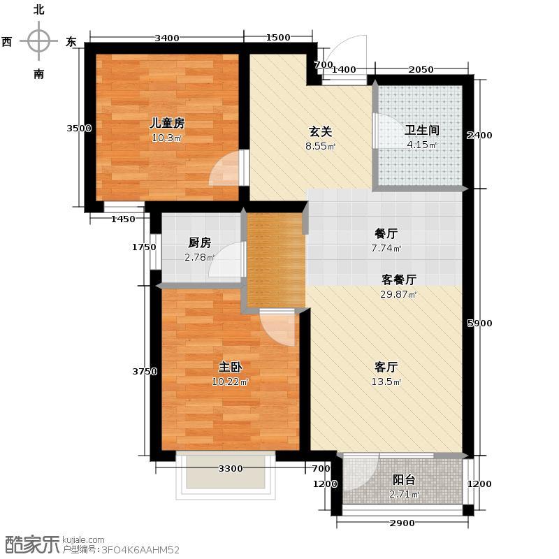 金隅・观澜时代87.00㎡G8户型2室2厅1卫