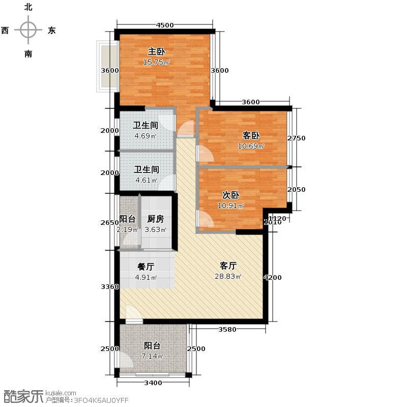 金沙云庭106.00㎡G2户型3室1厅2卫1厨