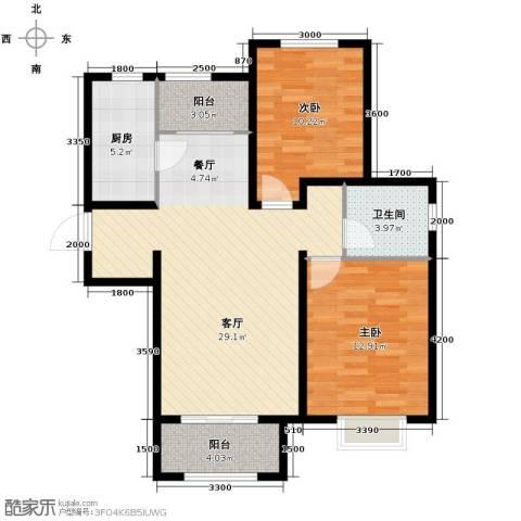 溪谷港湾2室1厅1卫1厨99.00㎡户型图